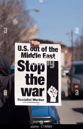 More than 150 Anti-War demonstrators marched down Butler street in Pittsburgh, PA to protest U.S. involvement in - Stock Image