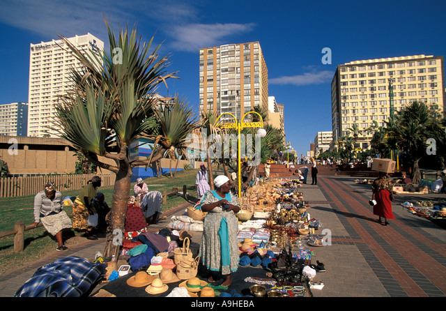 South Africa Durban Colorful Craft Sellers at The Golden Mile - Stock Image