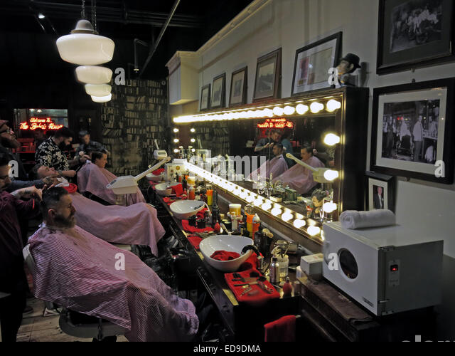 Traditional Barbers Shop Barton Arcade Central Manchester City England, UK - Stock Image