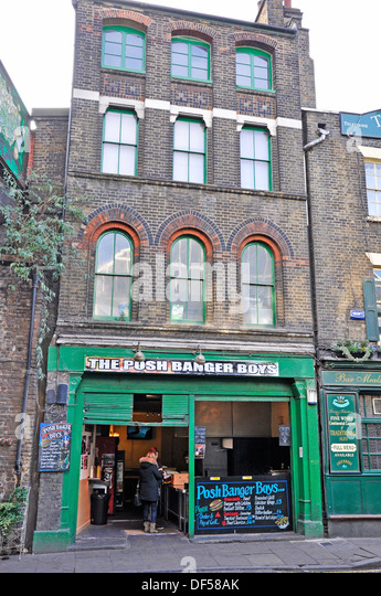 The Posh Banger Boys cafe, directly opposite Borough Market (London's renowned food market). England, UK. - Stock Image