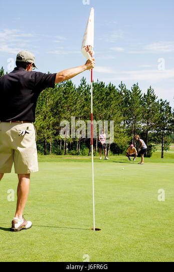Wisconsin Kenosha Kansasville Brighton Dale Links golf course county park system man men woman women foursome couples - Stock Image