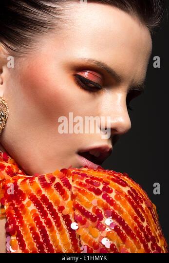 Stylish Gorgeous Woman Portrait. Elegant Dress. Classy Evening Make Up - Stock Image