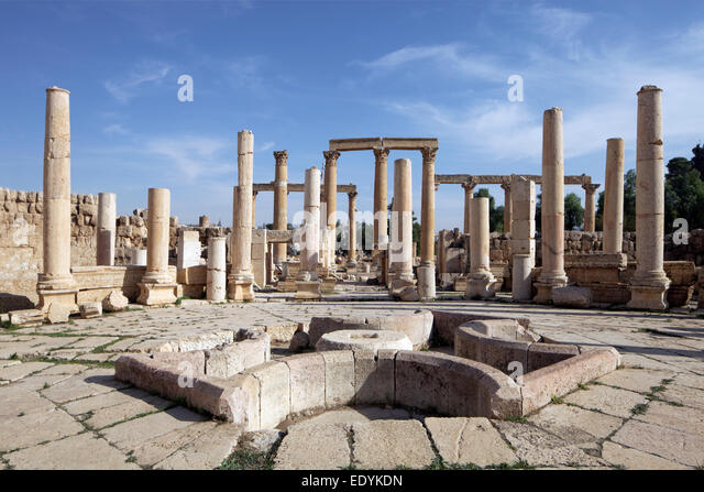 Food market, Marcellum, ancient Roman city of Jerash, part of the Decapolis, Jerash, Jerash Governorate, Jordan - Stock Image