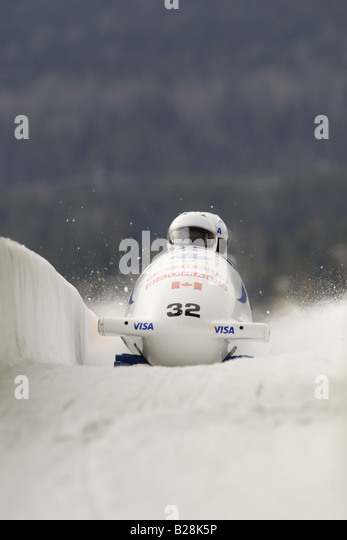bobsleding-Whistler sliding center Whistler British Columbia Canada - Stock Image
