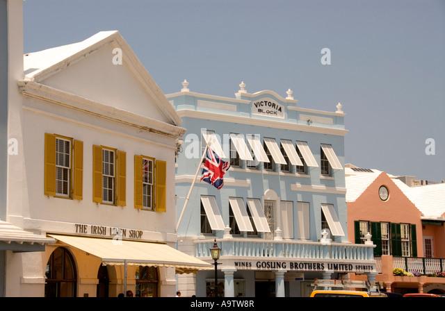 Bermuda Hamilton Front Street shops skyline - Stock Image