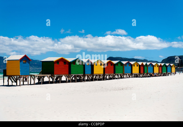 Beach cabins in Muizenberg, Cape Town, South Africa - Stock Image