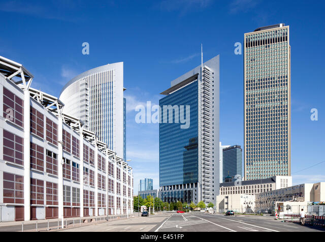 Castor and Pollux office towers and Tower 185, Hall 1 of the Frankfurt Trade Fair on the left, Europaviertel quarter - Stock Image
