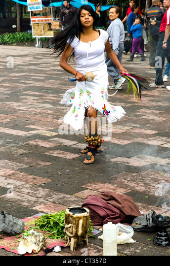 Traditional Aztec street dancers Mexico City Mexico Central America - Stock Image