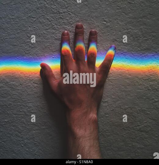 Rainbow Hand - Stock Image