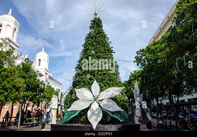Old San Juan decorated Christmas tree with white poinciana at Plaza de Armas, Puerto Rico - Stock Image