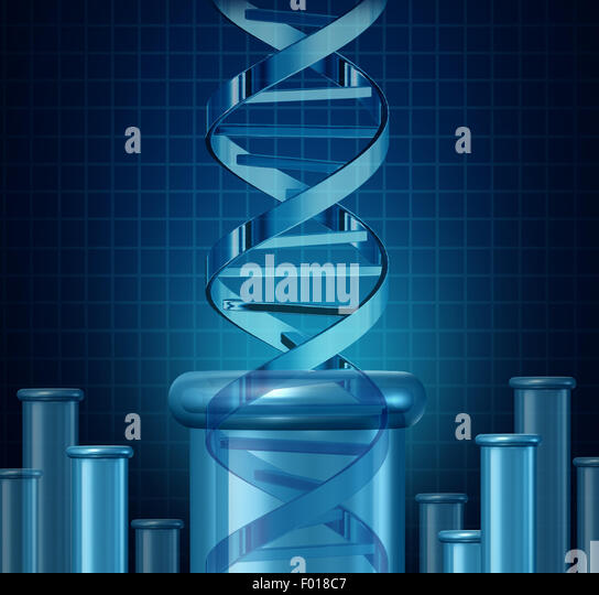 DNA testing and genetic research concept as a double helix science beaker as a biotechnology and medical science - Stock Image