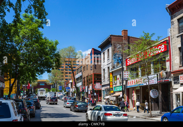 Shops and restaurants on Boulevard Saint-Laurent, Chinatown, Montreal, Quebec, Canada - Stock Image