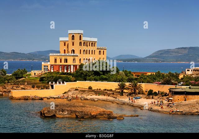 Italy Sardinia Alghero Villa Las Tronas Art deco Hotel - Stock Image