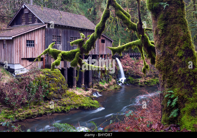 Washington's Cedar Creek Grist Mill is fully restored and dates to 1876 in Clark County. - Stock Image
