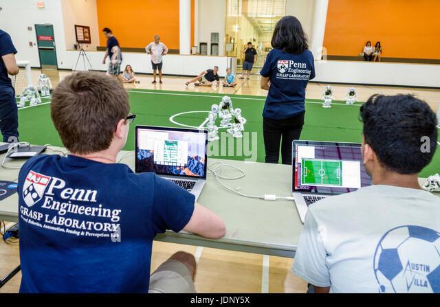 Miami Florida University of Miami Coral Gables RoboCup Open  robots SoftBank Robotics NAO robot AI artificial intelligence - Stock Image
