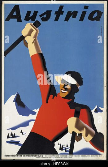 Vintage Travel Poster - Austria - Stock Image