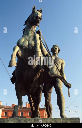Russia former Soviet Union St. Petersburg Anichkov Bridge statue - Stock Image