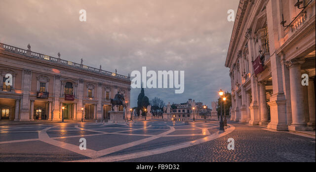Rome, Italy: The Capitolium square in the sunrise - Stock Image