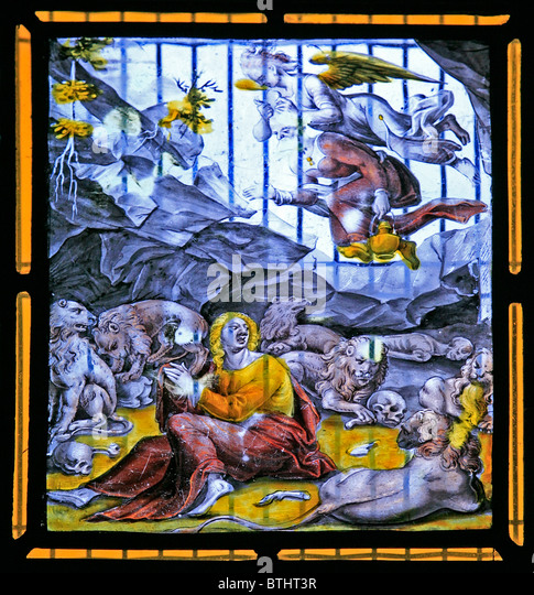 A Stained glass window depicting Daniel in the Lions' Den, Flemish School, Circa 17th century - Stock Image