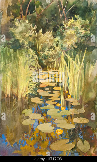Backwater in Abramtsevo, c. 1888. Artist: Polenova, Elena Dmitryevna (1850-1898) - Stock-Bilder