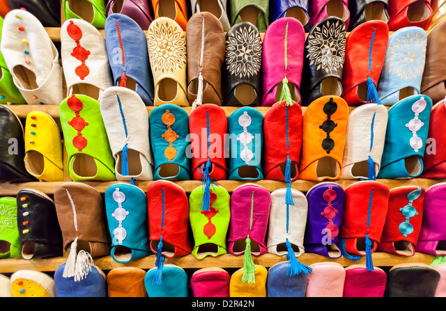 Colorful Moroccan babouches (slippers). - Stock Image