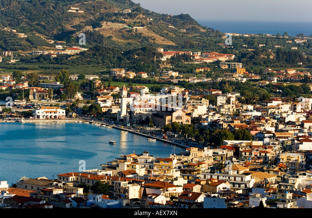 Panoramic view from Strani hill to Zakynthos town and Agios Dionysios church - Stock Image