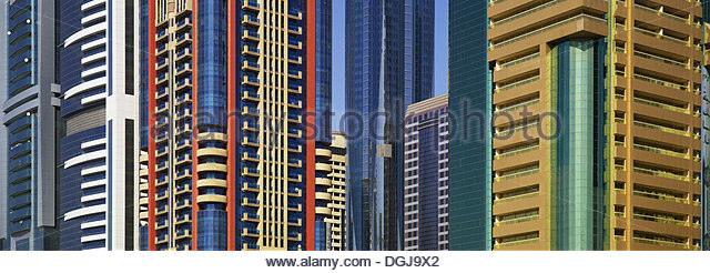 Colourful office buildings in Dubai. - Stock-Bilder
