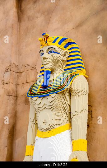 Legoland Florida Egyptian Pharaoh statue at Lost Kingdom Adventure ride, Winter Haven, Fl - Stock Image