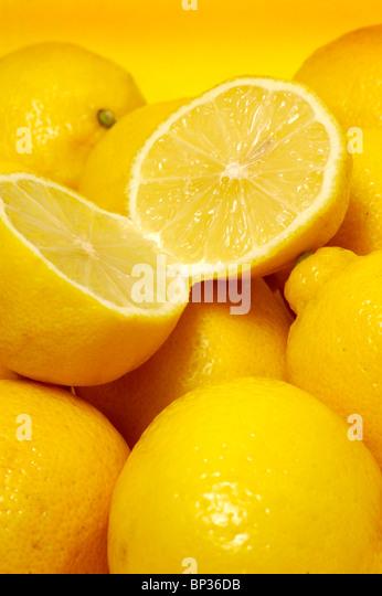fresh organic lemons, close up - Stock Image