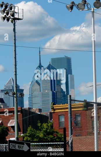 Urban Scene of the Center City Philadelphia Pennsylvania USA Skyline as viewed from South Philadelphia - Stock Image