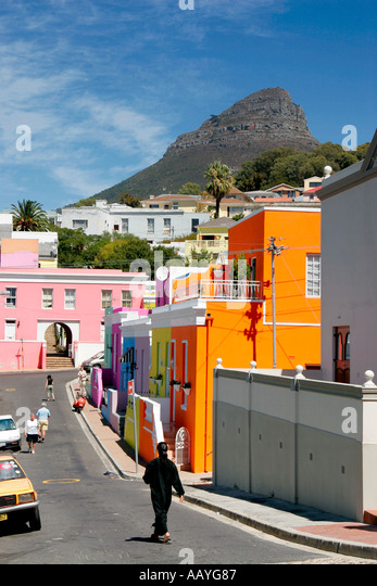 cape town Bo Kaap colorful facades in area of cape muslims signal hill - Stock Image