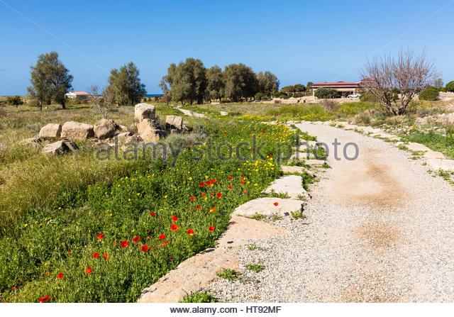View of Ruined Roman Town at Paphos Archaeological Park, Paphos, Cyprus - Stock Image
