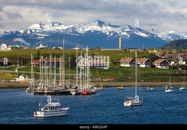 The harbour at Ushuaia the southernmost city in the world, Argentina - Stock Image