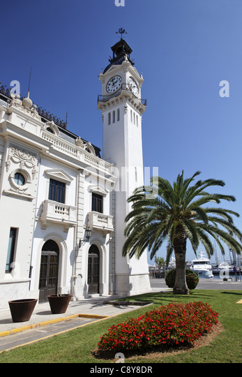 Clock tower building at americas cup harbor in Valencia, Spain - Stock Image