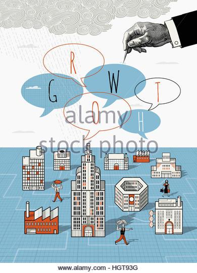 Anxious business people in city below hand bursting growth speech bubbles - Stock-Bilder