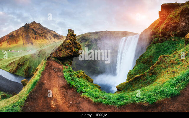 Great waterfall Skogafoss in south of Iceland near - Stock Image