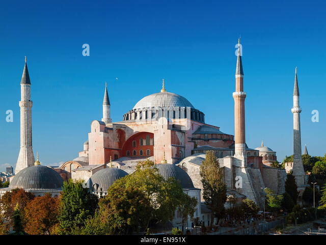 haghia aya sofia landmark mosque in istanbul turkey - Stock Image