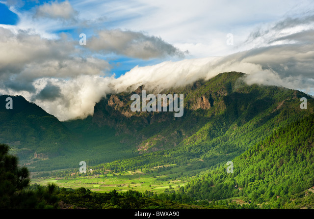 Beautiful landscape of the mountains in La Palma, Canary Islands, Spain - Stock Image