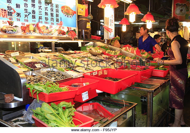 People in food market - Stock Image