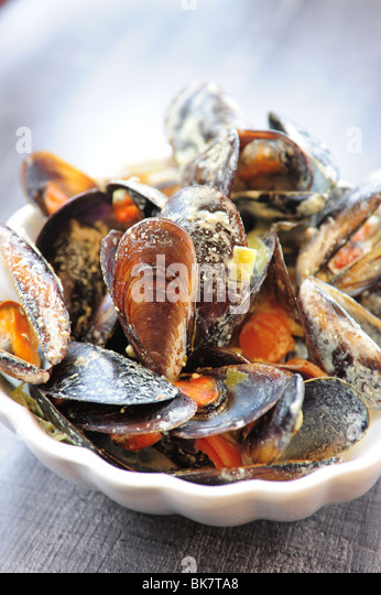 France Cote d'Azur Provence Cassis mussels at restaurant shell fish  dining fresh Mediterranean Sea - Stock Image