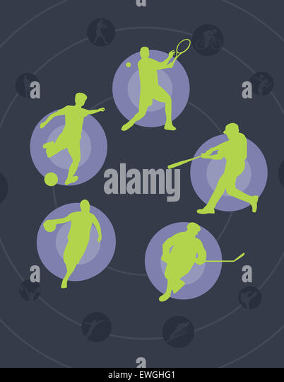 Illustration image of universal ball games men play - Stock Image