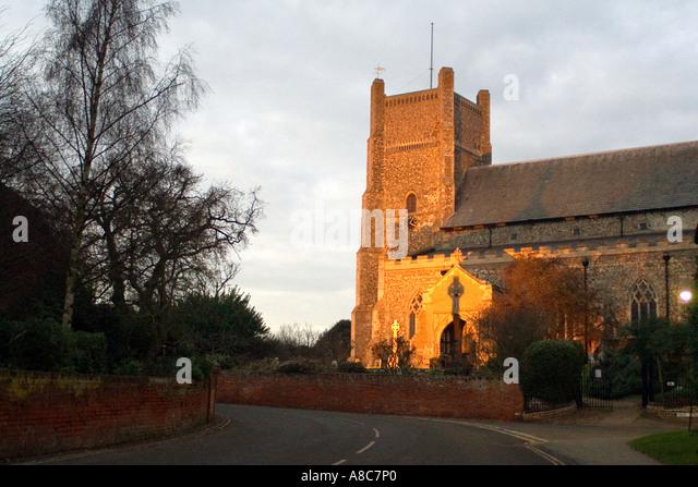 Saxon Cross Saint Bartholemew's Church in Orford Suffolk England - Stock Image