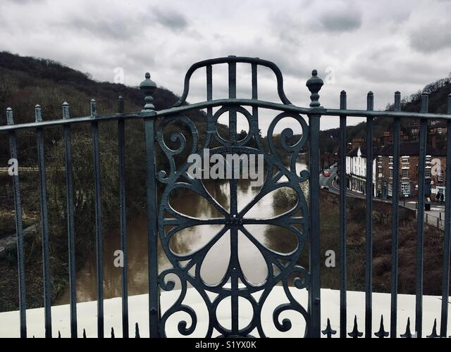 Balustrade forming part of the world's first cast iron bridge, built 1779 over the River Severn. The bridgbecame an icon of the Industrial Revolution and gave the surrounding town the name Ironbridge - Stock Image