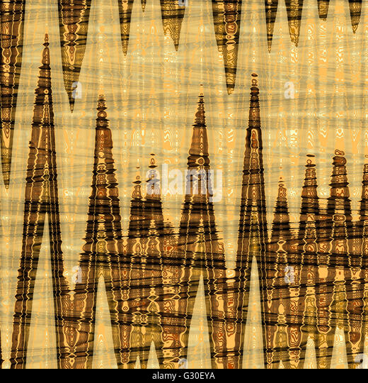 Wavy golden abstract pattern. Geometric digital art. - Stock Image
