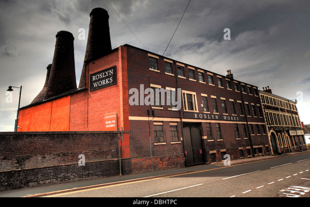 Roslyn Works from Longton Stoke-On-Trent Great Britain showing potteries heritage at the Gladstone Pottery Museum - Stock Image