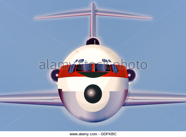 retro aircraft passenger commercial jet airliner illustration - Stock Image