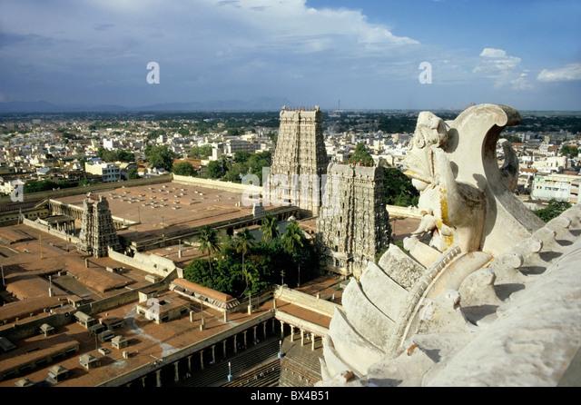 India - The Madurai Sundareswarar Meenakshi Temple also known as Madurai Amman Meenakshi Temple - Stock Image