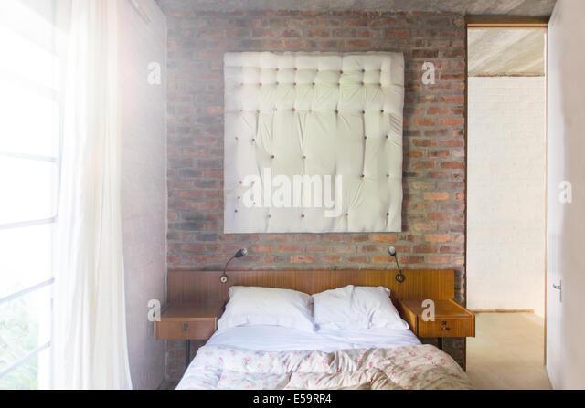 Wall hanging in modern bedroom - Stock-Bilder
