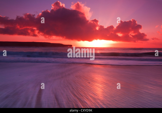 Skaill beach winter sunset, Orkney isles - Stock Image
