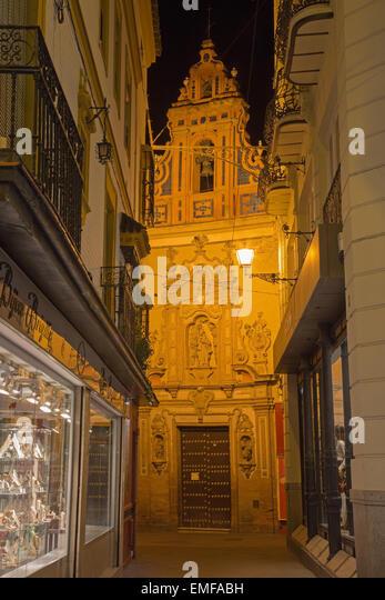 SEVILLE, SPAIN - OCTOBER 28, 2014: The main baroque portal of the church Capilla de San Jose (1716) by Lucas Valdes. - Stock Image